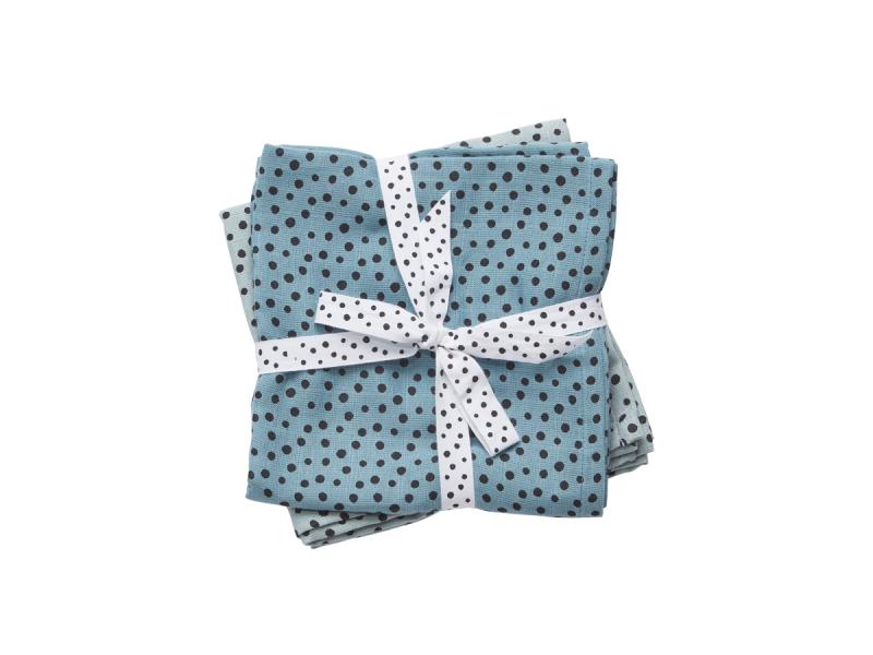 Mušelínové plenky Happy dots 2ks - modré 1