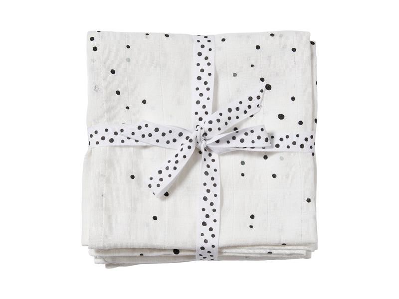 Mušelínové zavinovací plenky Dreamy Dots 2ks - bílé 1
