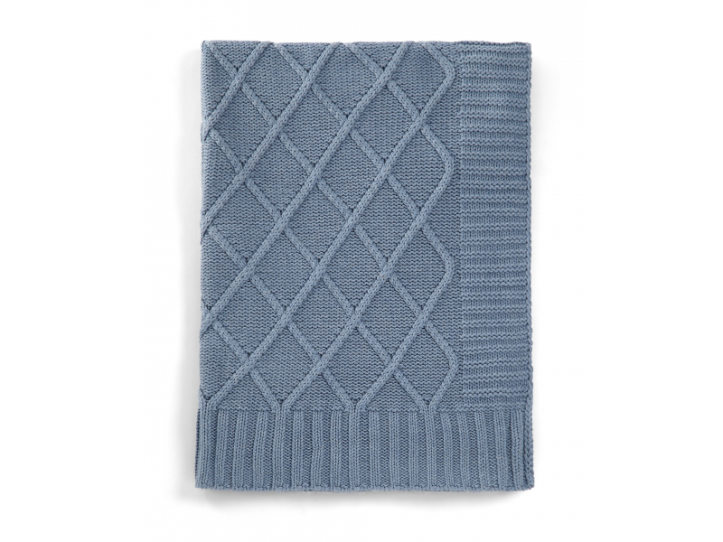 Pletená deka modrý denim 1