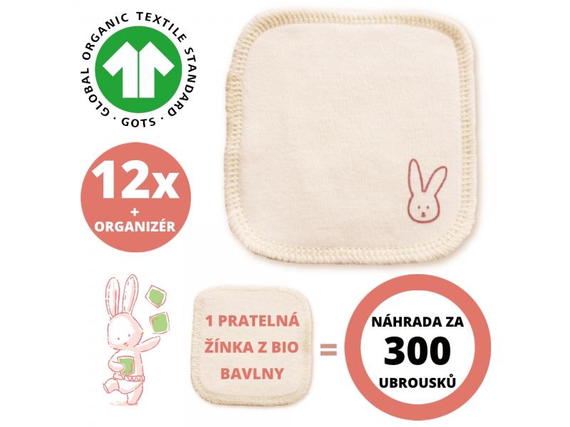 Sada hygienické žínky z BIO bavlny, prací síťka a organizér 12ks 1