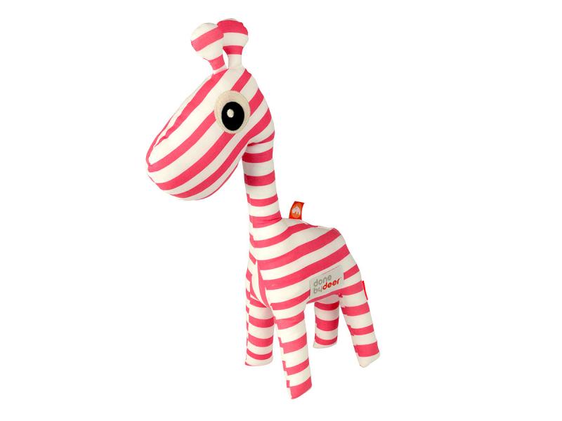 DONE BY DEER Mazlivá hračka 3D Raffi + knížka - růžová