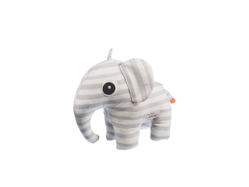 DONE BY DEER Mazlivá hračka Elphee s obrázkovou knížkou - šedá