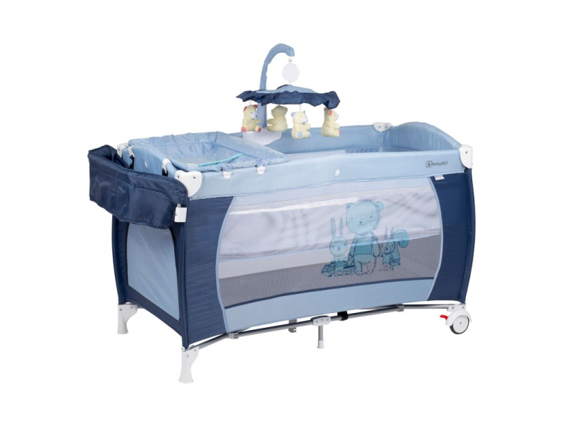 BabyGo Postýlka SLEEPER DELUXE Blue