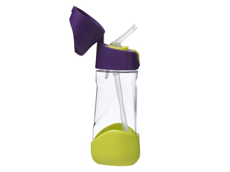 Láhev na pití s brčkem - fialová/zelená 1