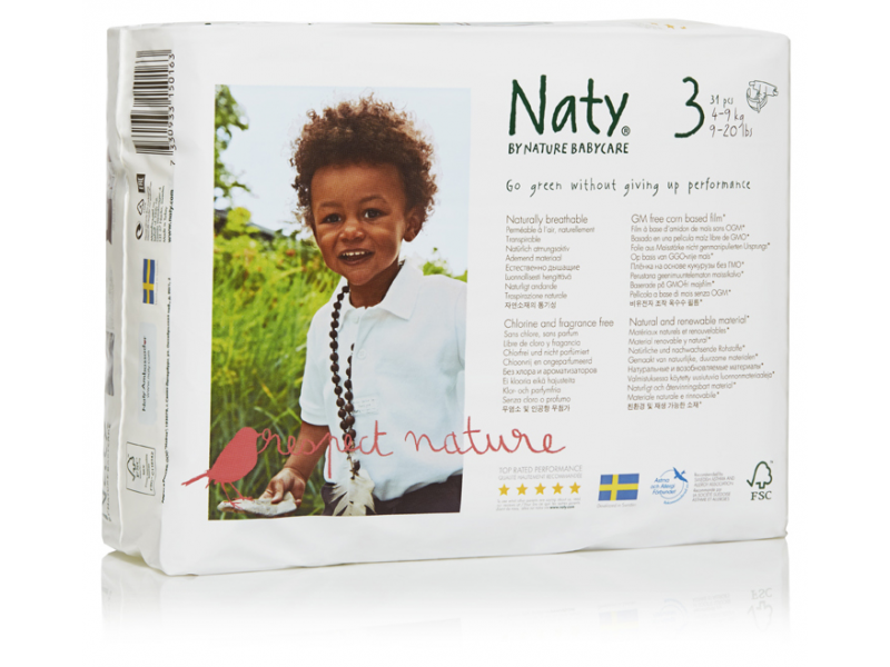 Naty Plenky Nature Babycare Midi 4 - 9 kg (31 ks)