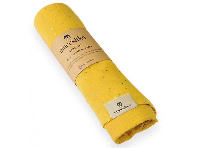 Mušelínová deka dvojitá Nature, mimosa 1