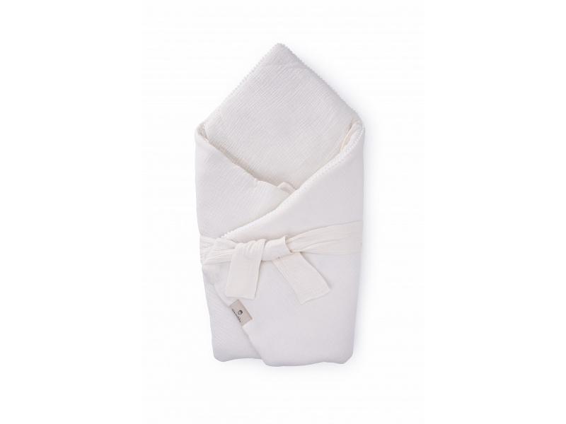 Mušelínová zavinovačka s páskem a ozdobným okrajem, ecru-pompony 1