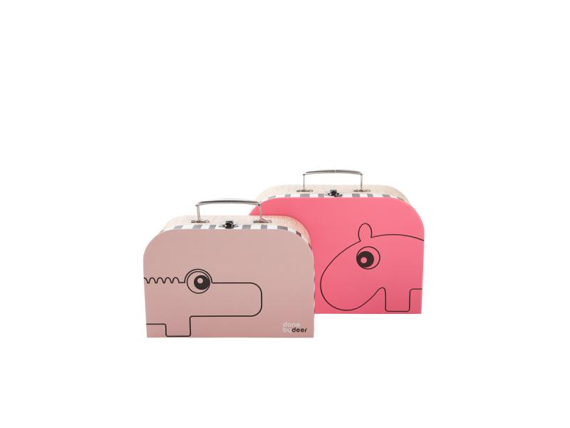 DONE BY DEER Set kufříků - 2 ks - světle růžová/malinová