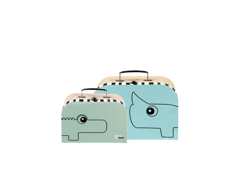 DONE BY DEER Set kufříků - 2 ks - modrá/zelená