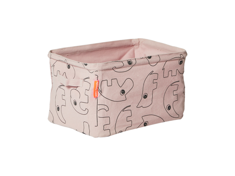 DONE BY DEER Oboustranný měkký úložný košík - růžový