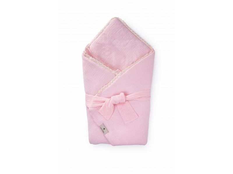 Mušelínová zavinovačka s páskem a ozdobným okrajem, rose-krajka 1