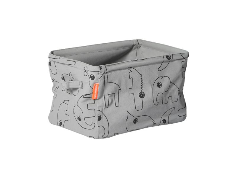 DONE BY DEER Oboustranný měkký úložný košík - šedý