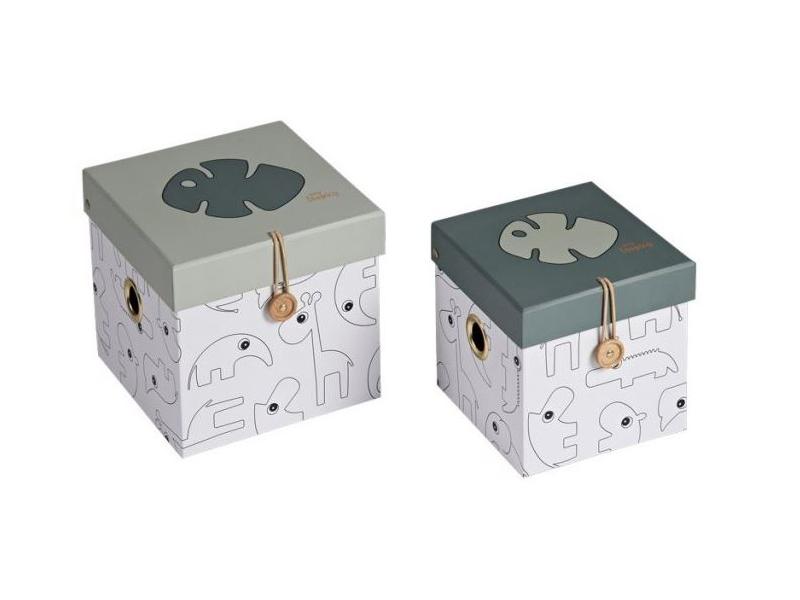 DONE BY DEER Set 2ks úložných boxů, malé, Tiny Tropics