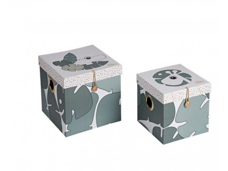 DONE BY DEER Set 2 ks úložných boxů, velké, Tiny Tropics