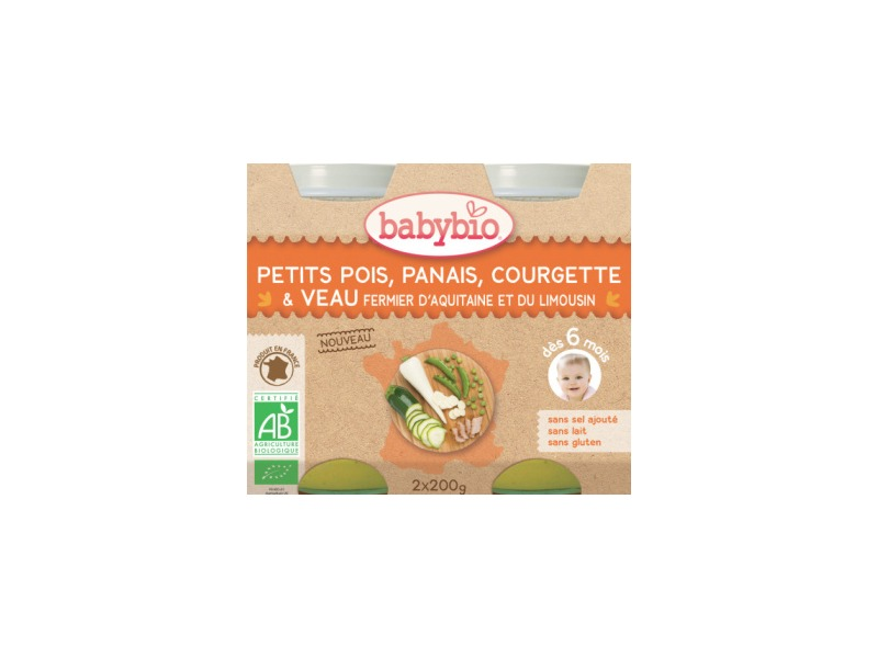 BabyBio menu hrášek a pastinák s cuketou a telecím masem 2x200g