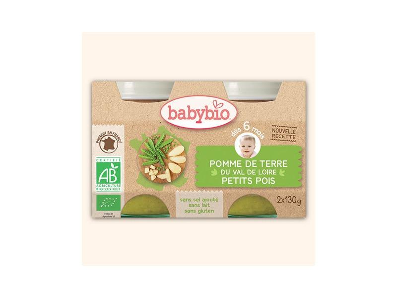 BabyBio příkrm brambory s hráškem 2x130g