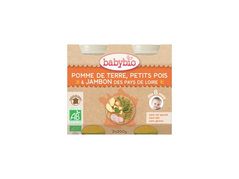 BabyBio menu brambory a hrášek se šunkou 2x200g