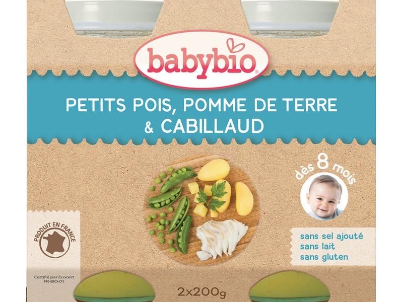 BabyBio menu hrášek a brambory s islandskou treskou 2x200g