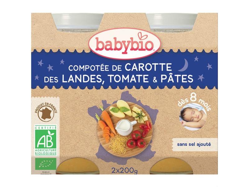 BabyBio večerní menu mrkev a rajčata s těstovinami 2x200g