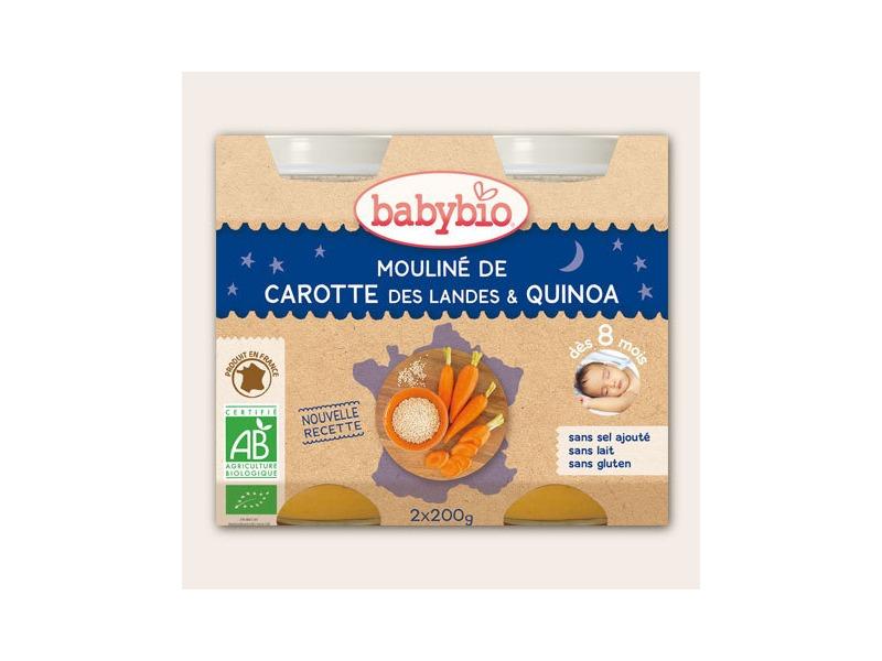 BabyBio večerní menu mrkvové mouliné a quinoa 2x200g