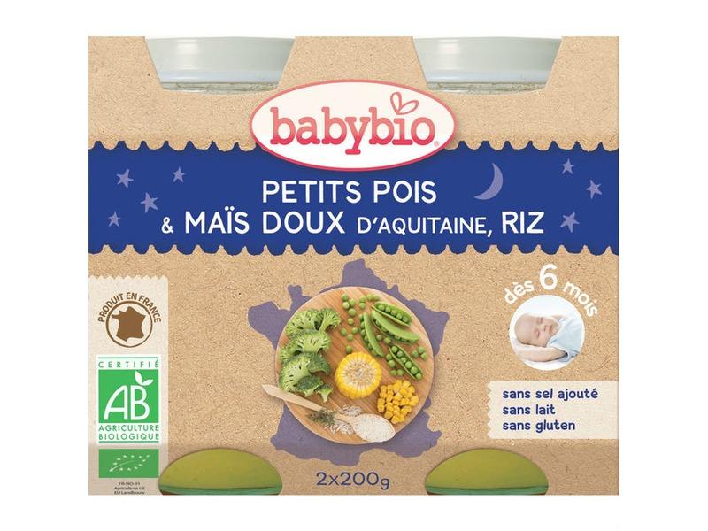 BabyBio večerní menu hrášek sladká kukuřice rýže 2x200g