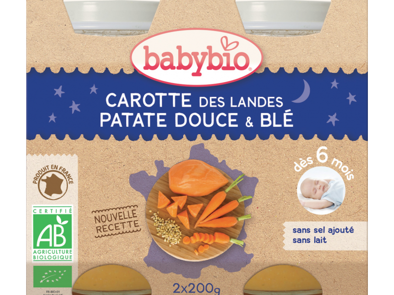 BabyBio večerní menu mrkev se sladkými brambory a pšenicí 2x200g
