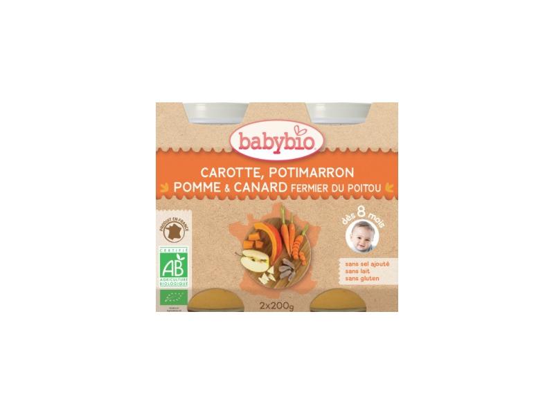 BabyBio menu mrkev dýně a jablka s kachním masem 2x200g
