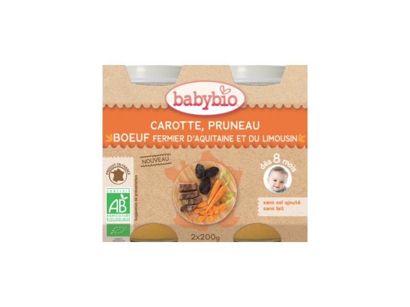 BabyBio menu mrkev a sušené švestky s hovězím masem 2x200g