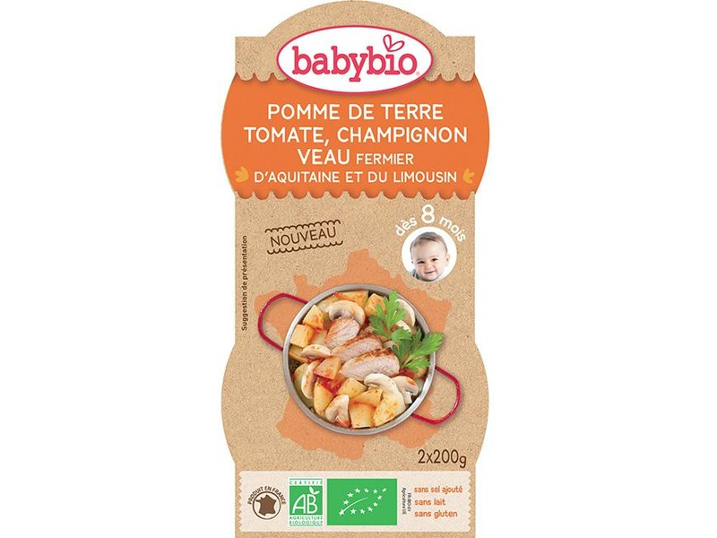 BabyBio brambory s rajčatovým pyré, žampióny a telecím masem 2x200g