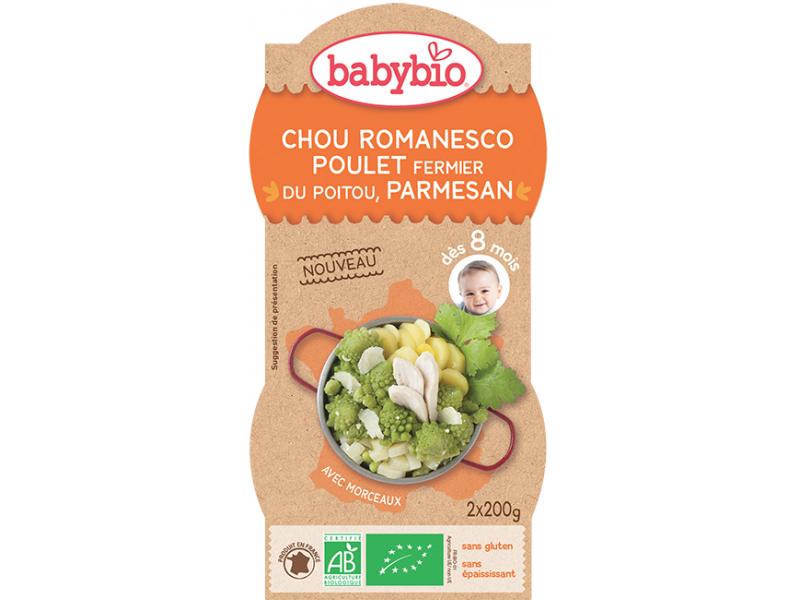 BabyBio Romanesco s farmářským kuřetem a parmezánem 2x200g
