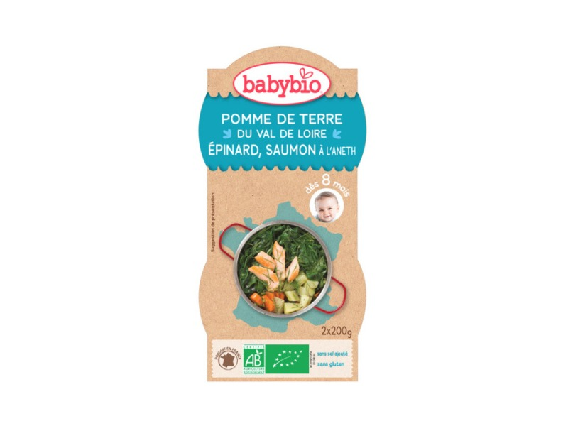 BabyBio menu brambory a špenát s lososem a rýží 2x200g