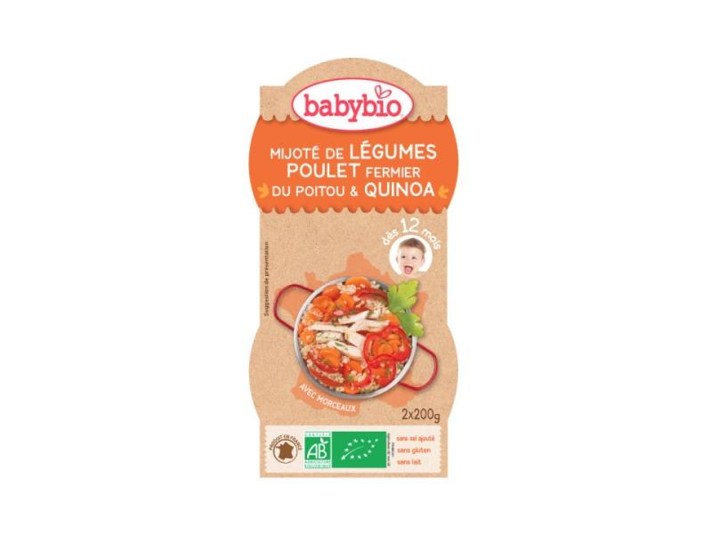 BabyBio menu zelenina s kuřecím masem a quinoa 2x200g