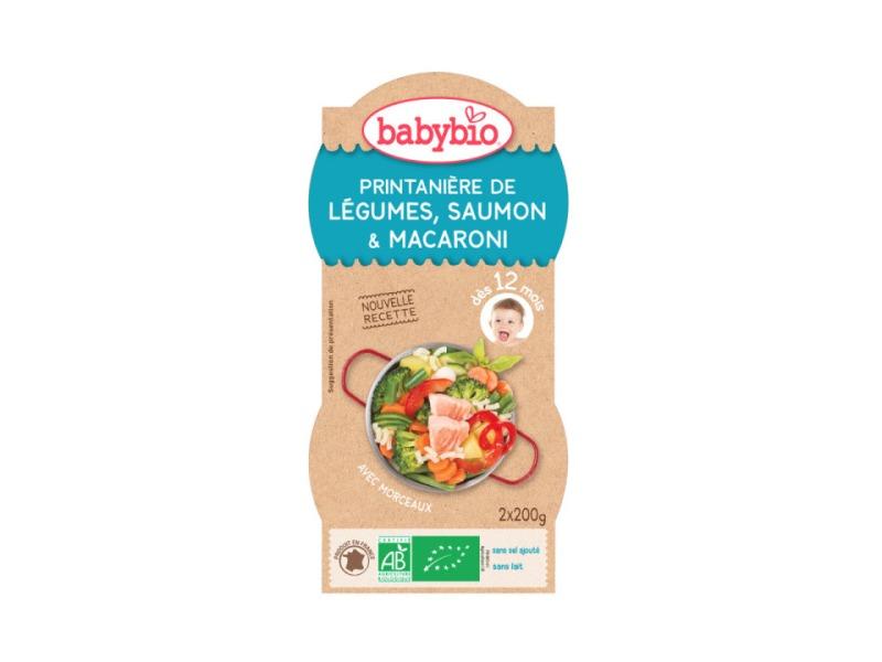 BabyBio menu jarní zelenina s lososem a makarony 2x200g