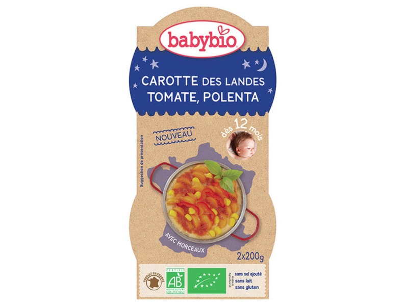 Good Night mrkev s rajčatovým pyré, sladkou kukuřicí a polentou 2x200g 1