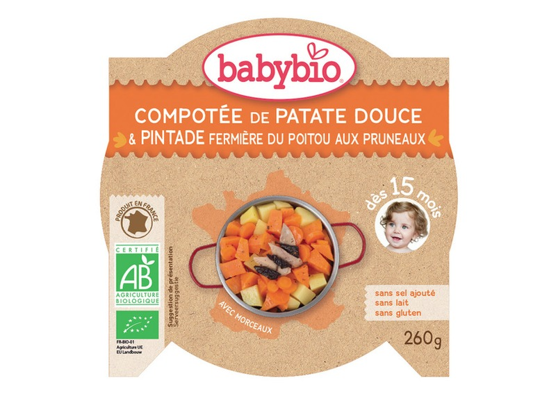 BabyBio menu sladké brambory s masem z perličky a sušenými švestkami 260g