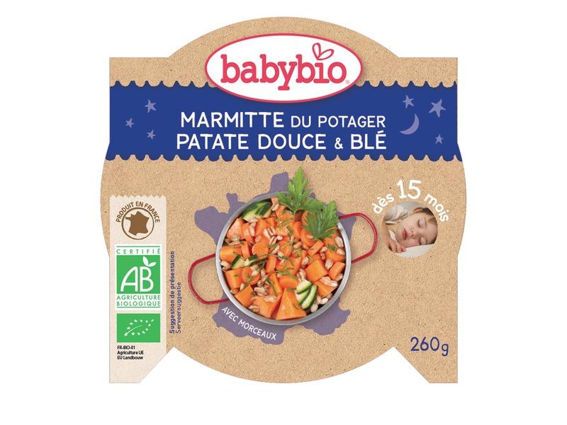 BabyBio večerní menu sladké brambory s mrkví a pšenicí 260g