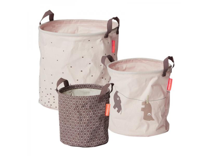 DONE BY DEER Set měkkých odkládacích košíků Balloon 3ks - růžové