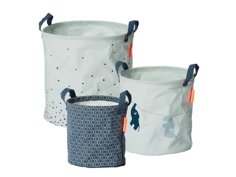 DONE BY DEER Set měkkých odkládacích košíků Balloon 3ks - modré