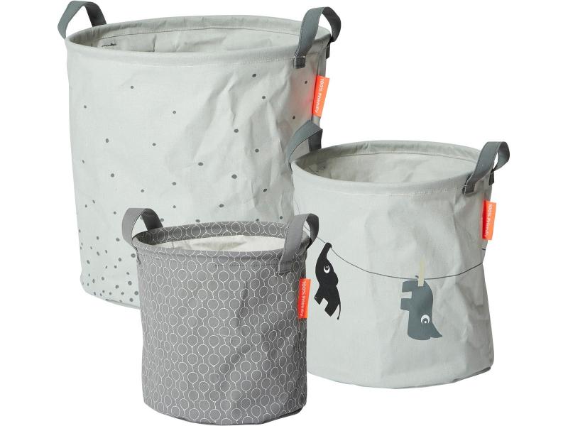 DONE BY DEER Set měkkých odkládacích košíků Balloon 3ks - šedé