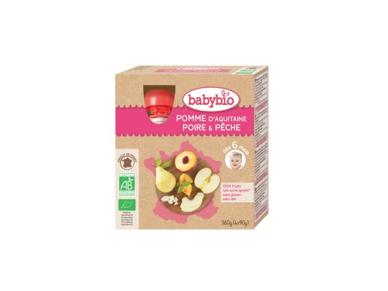 BabyBio kapsička jablko hruška broskev 4x90g