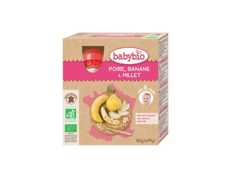 BabyBio kapsička hruška banán proso 4x90g