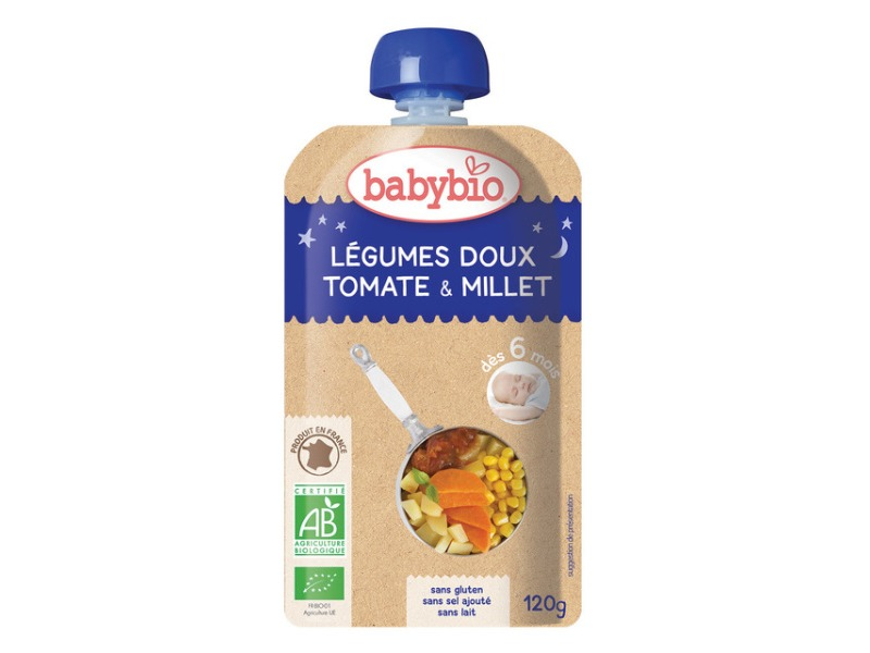 BabyBio kapsička večerní pyré sladká zelenina rajčata proso 120g