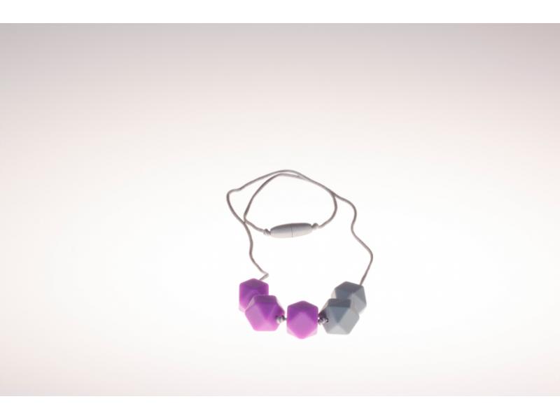 Kojící korále Elvira - fialovo šedé 1