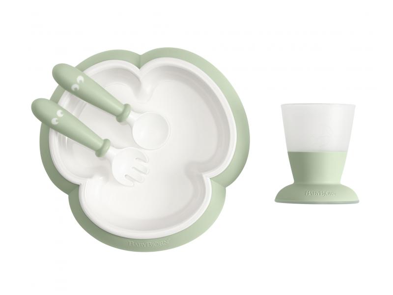 Baby Björn jídelní set 3-dílný, pudr. zelená