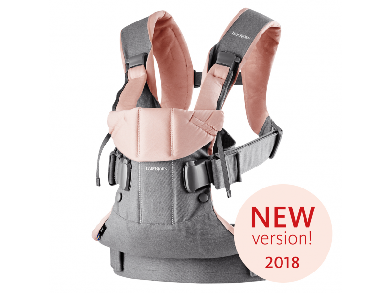 Nosítko ONE 2018 Grey/Powder pink cotton 1