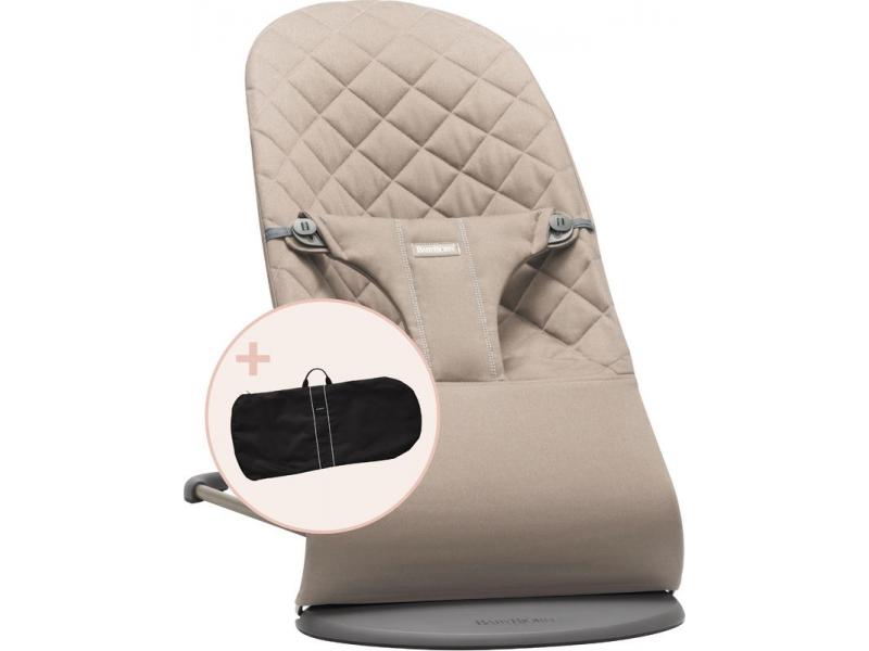 Lehátko BLISS Sand grey cotton a transportní taška 1