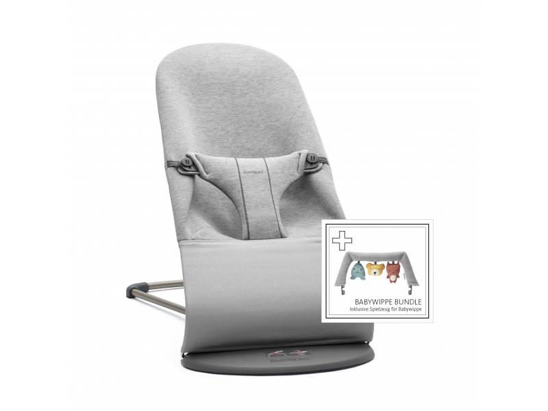 Baby Björn Lehátko Bouncer Bliss Light Grey 3D Jersey s hračkou textilní Soft friends