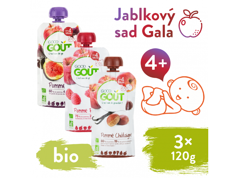 BIO variace kapsiček Jablkový sad Gala (3x120 g) 1