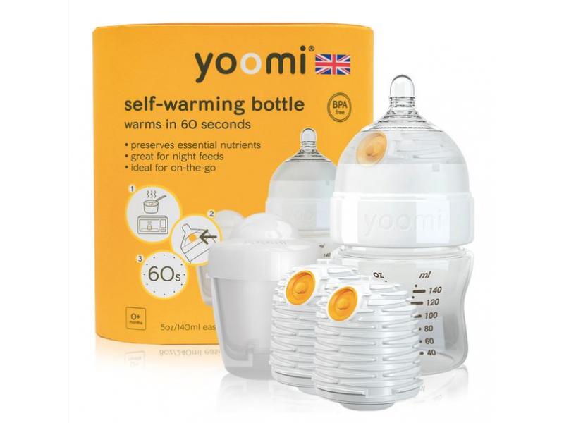 Yoomi Kojenecká láhev 140 ml, 2 x ohřívač, dudlík a nádoba na ohřívač - Y15B2W1P