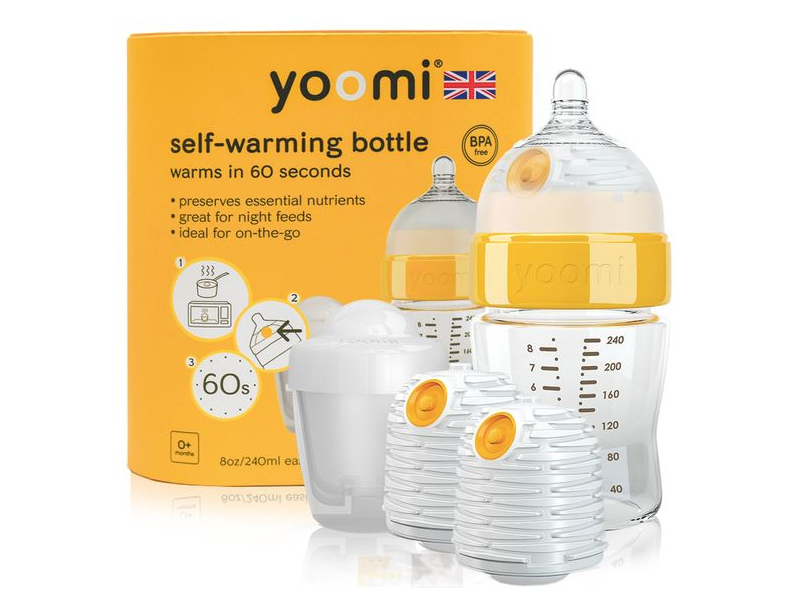 Yoomi Kojenecká láhev 240 ml, 2 x ohřívač, dudlík a nádoba na ohřívač - Y18B2W1P